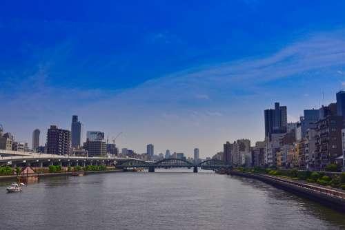 Tokyo Japan City Tourism River Cityscape Water