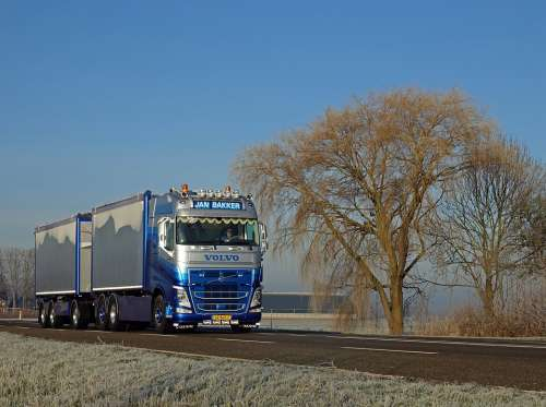 Truck Volvo Vehicle Transport Blue Winter Rhyme