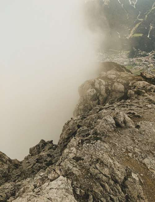 Tschirgant Mountain Summit High Fog Haze Clouds