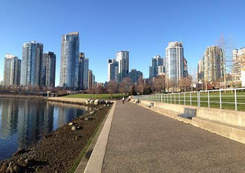 Vancouver Skyline Water Architecture Cityscape