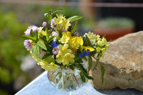 Vase Flowers Bouquet Country