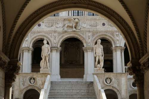 Venice Staircase Lion Italy Palace Building