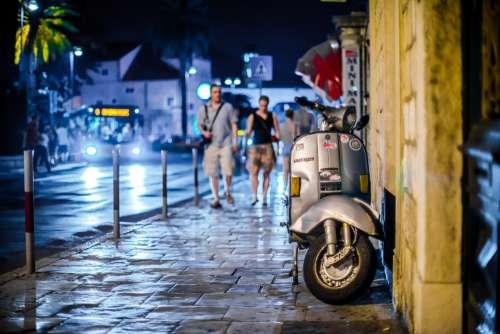 Vespa Street Night City Architecture Dubrovnik