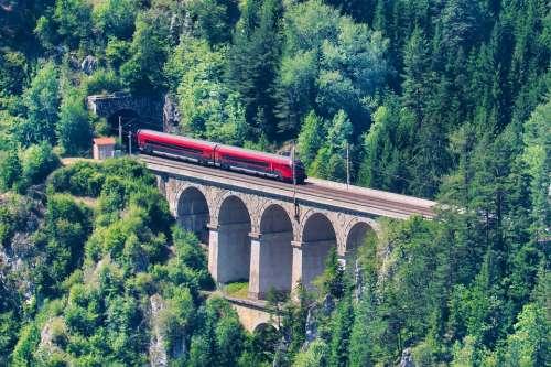 Viaduct Railway Travel Rails Landscape