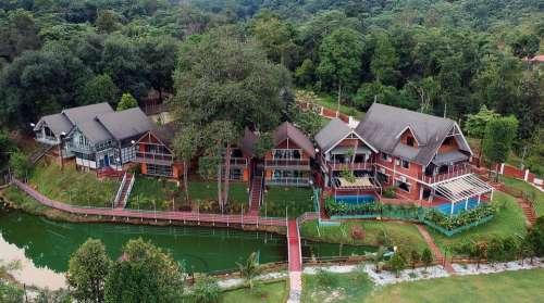 Villa Pond Water Architecture Resort Vacation