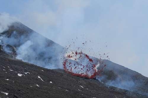 Volcano Sicily Rash Etna Lava Explosion Aetna