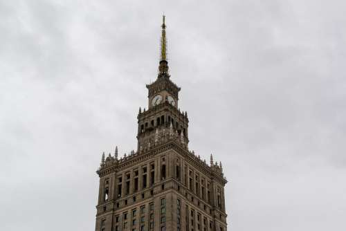 Warsaw Poland Center Building House With A Spire