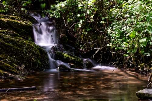 Waterfall Water Long Time Exposure Nature Landscape