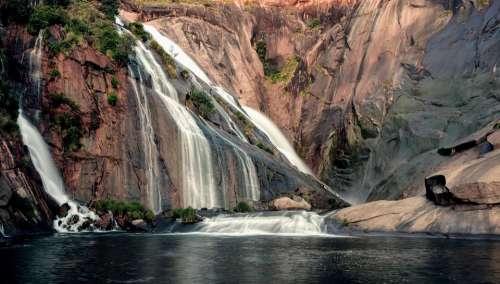 Waterfall Galicia Landscape Water Mountain