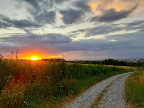 Way West The Sun Twilight Landscape Sky Nature
