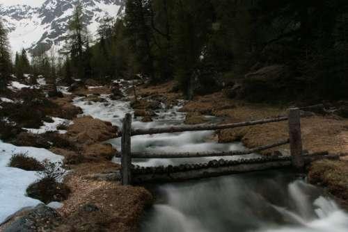 Web Bridge Water Mountains Nature Boardwalk Wood