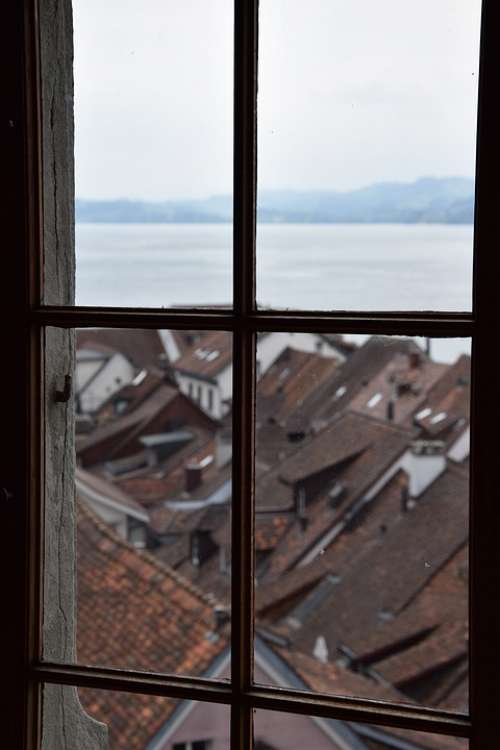 Window View Lake Look Old Town Sky Outside