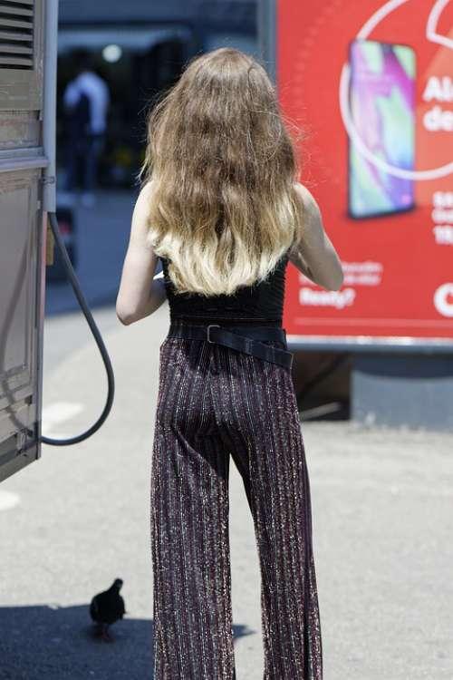 Woman Young Girl Elegant Pants Hair Long Blonde