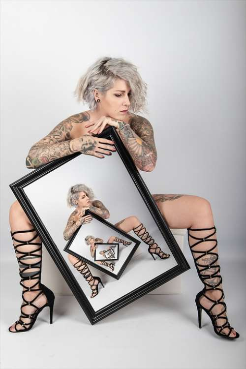 Woman Tattoos Boots Picture Frame Frame Sexy