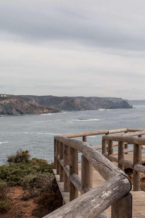 Wooden Track Cliff Algarve Portugal Coast Sea