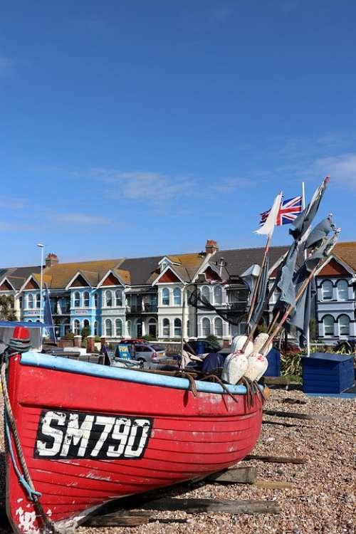 Worthing Beach England Fishing Boat
