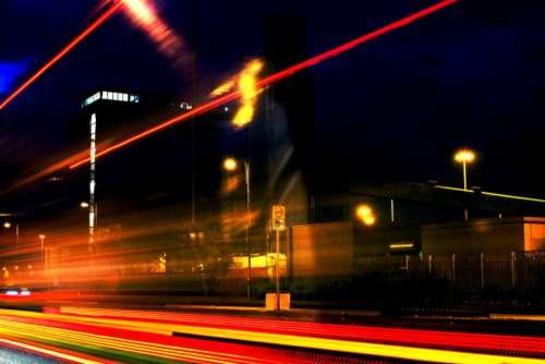 city night blur driving street