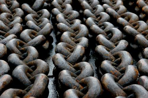 abstract rusty chain links metal