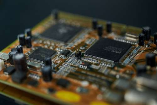 macro computer card circuit closeup