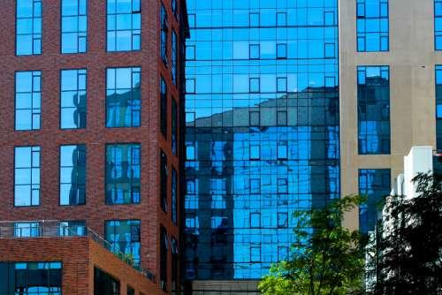 glass building city windows downtown