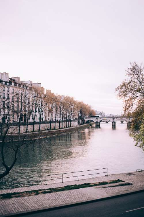 Arched Bridges Over City River Photo