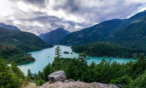Blue Lake Green Mountains Photo