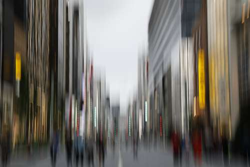 City Scene Captured In Motion Photo
