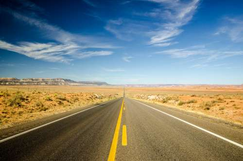 Extremely Long Desert Road Photo