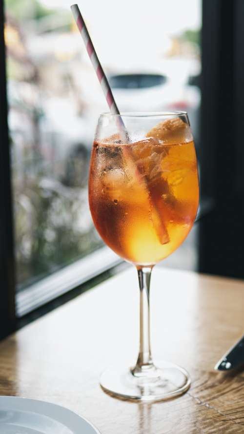 Ice-cold Cocktail With Straw Photo