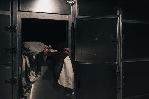 Lifeless Contents Of A Morgue Freezer Photo