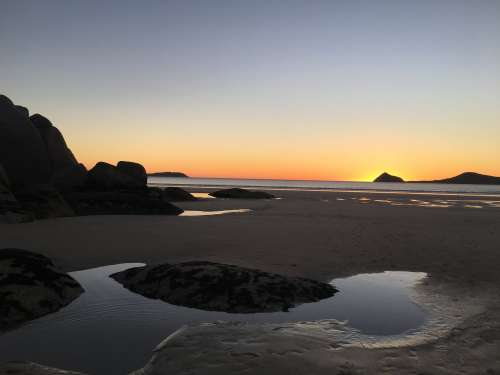 Puddles Of Water On the Beach Reflect The Sunset Photo
