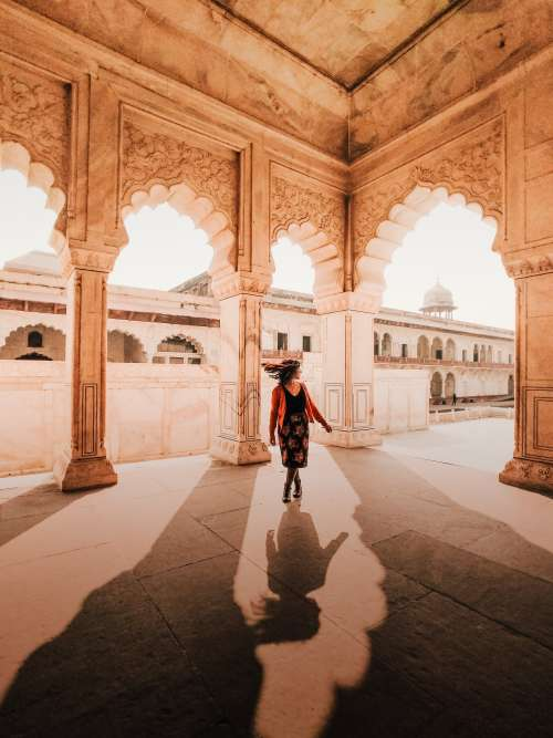 Spinning Under Arches In India Photo