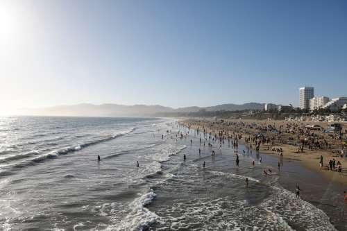 Sunny Day On A Busy Beach Photo