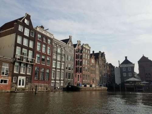 Damrak canal City Amsterdam Europe travel