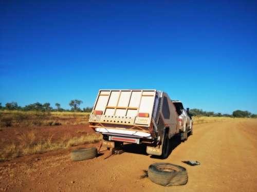 camper van camping travel broken tires