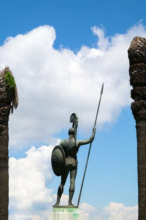 Achilles Sculpture Back Statue Achilleion Corfu