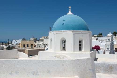 Akrotiri Santorini Church Blue White Tradition