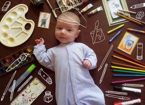 Babe Newborn Humor Artist Paint Brush Family