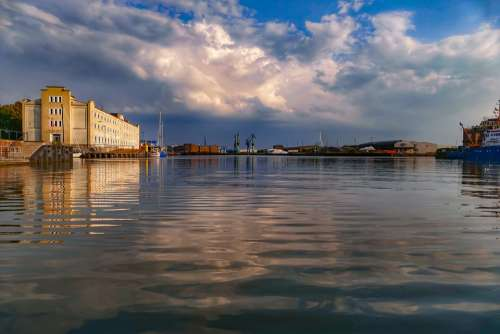 Bremerhaven Clouds Water Docks