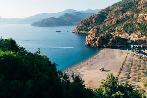 Coast Corsica Landscape Scenery Hills Beach Water
