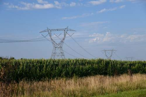 Countryside Wires Electricity Corn