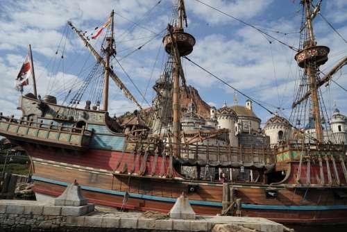 Disney Sea Boat Sailboat Pirate Ocean