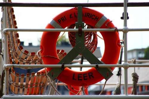 Empty East Frisia Port Water Lifebelt