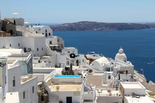 Fira Santorini Greece Holiday Sea Travel Blue