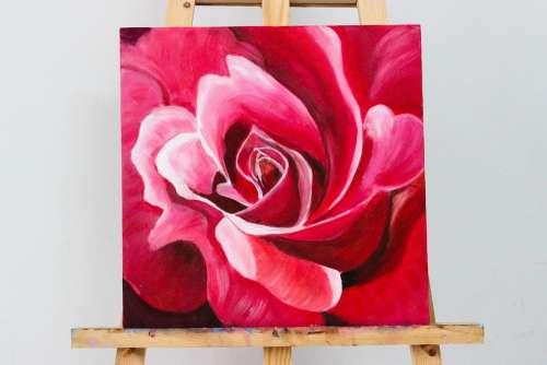 Flower Red Oil Painting Wood Black Vietnam