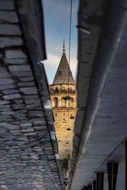 Galata Tower Istanbul Turkey Old Yansıma