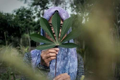 Girl Hijab Portrait Leaf Women Green