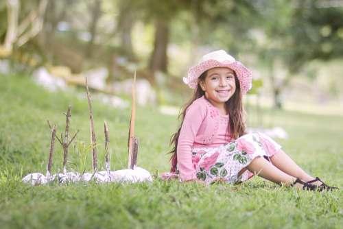 Girl Happy Smiling Nature Fun Children Smile Hat