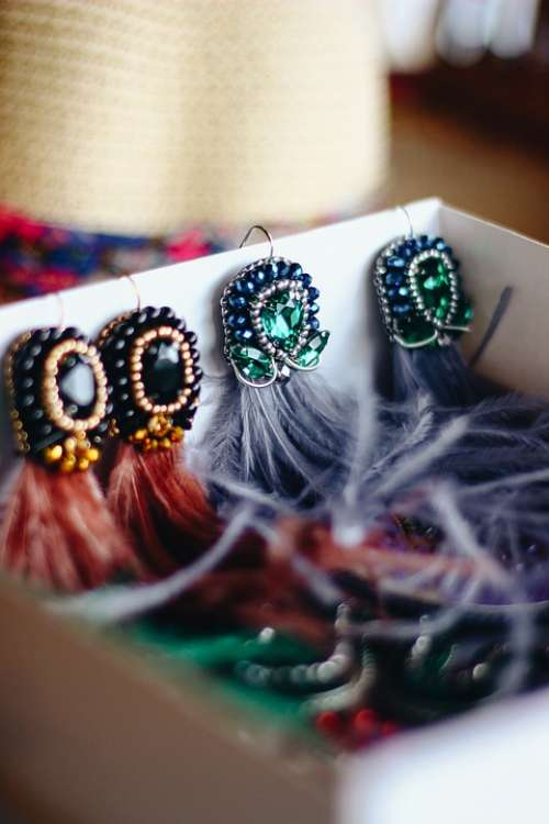 Handmade Jewelry Earrings Girl Feathers