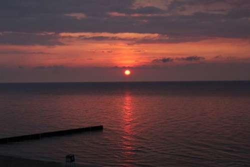 Holidays Sunset Poland Landscape The Baltic Sea